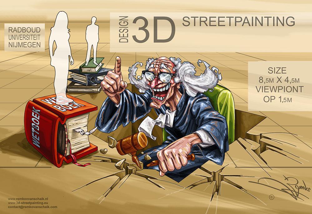 3D Streetpainting Sketch Radboud Nijmegen