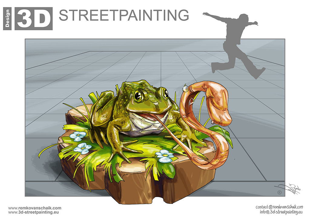 "3D Streetpainting Sketch ""Eating Frog"" designed by Remko van Schaik for ""Buntes Pflaster """