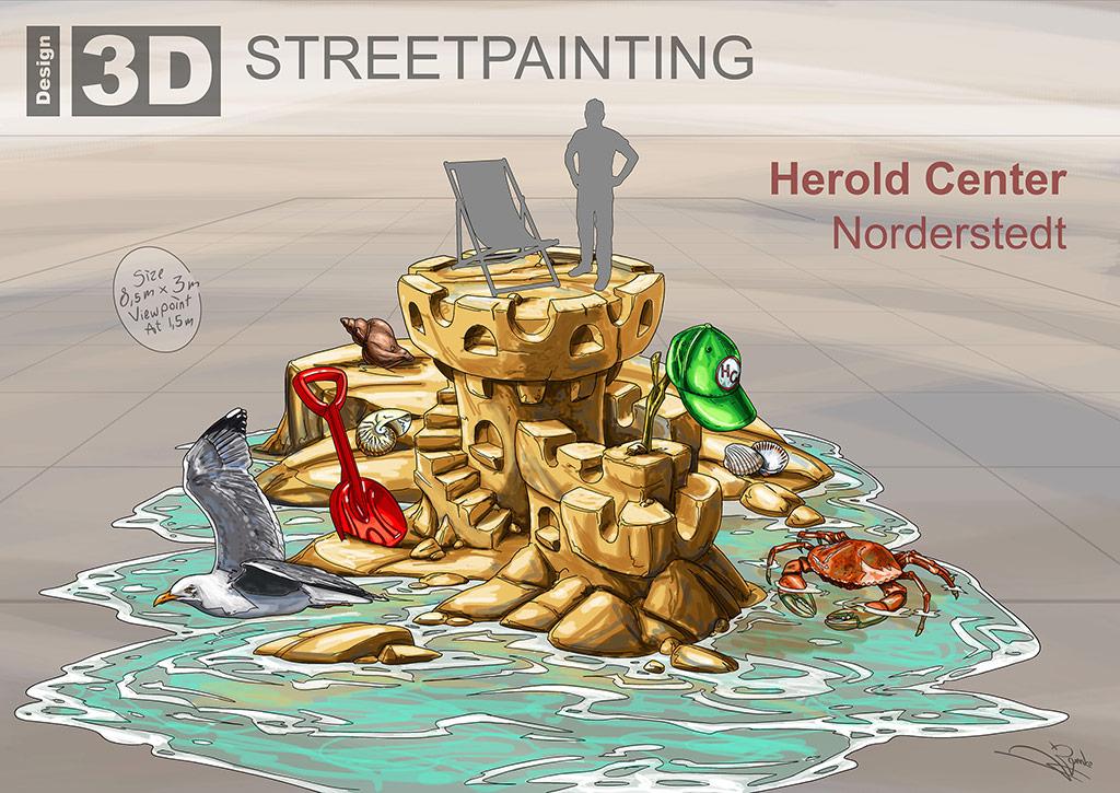 "3D Streetpainting Sketch ""Sandcastle"" designed by Remko van Schaik"