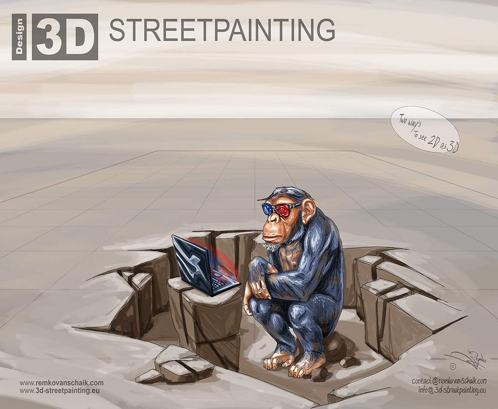 "3D Streetpainting Sketch ""3D Ape"""