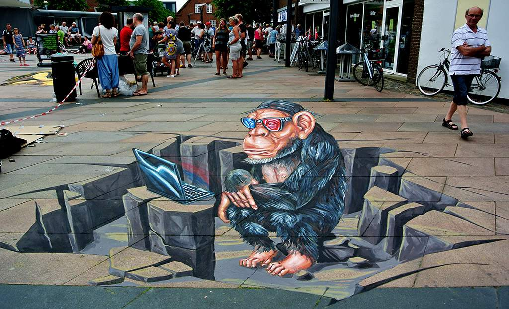 3d-streetpainting-3d-ape-remko-van-schaik-3d-street-art-festival-brande-denmark-2