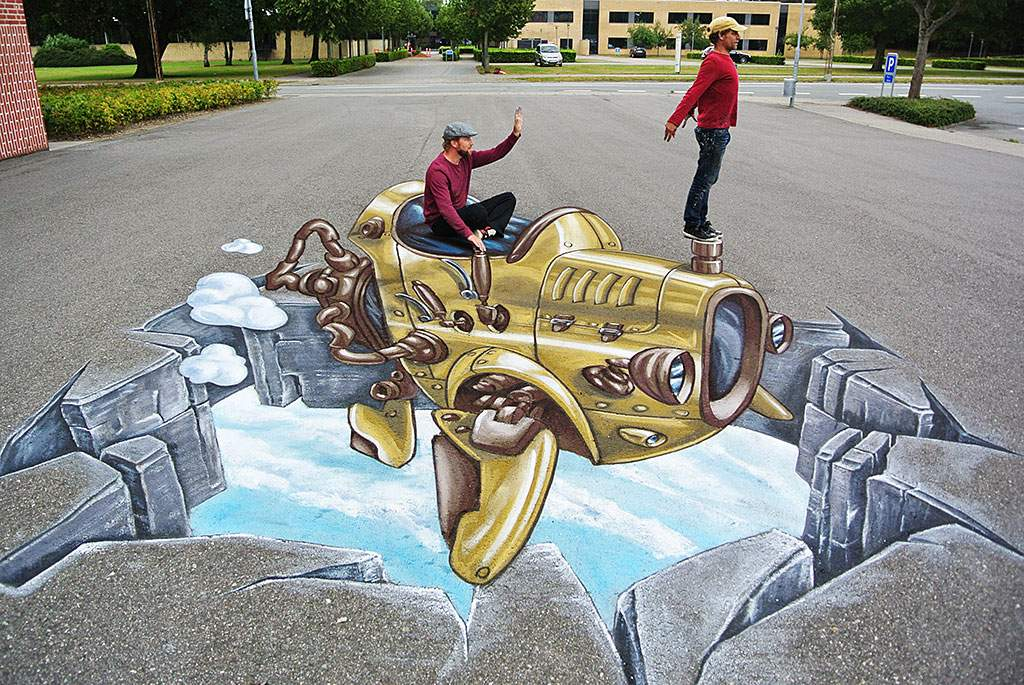 3D Streetpainting  Art Project in Grindsted, Denmark