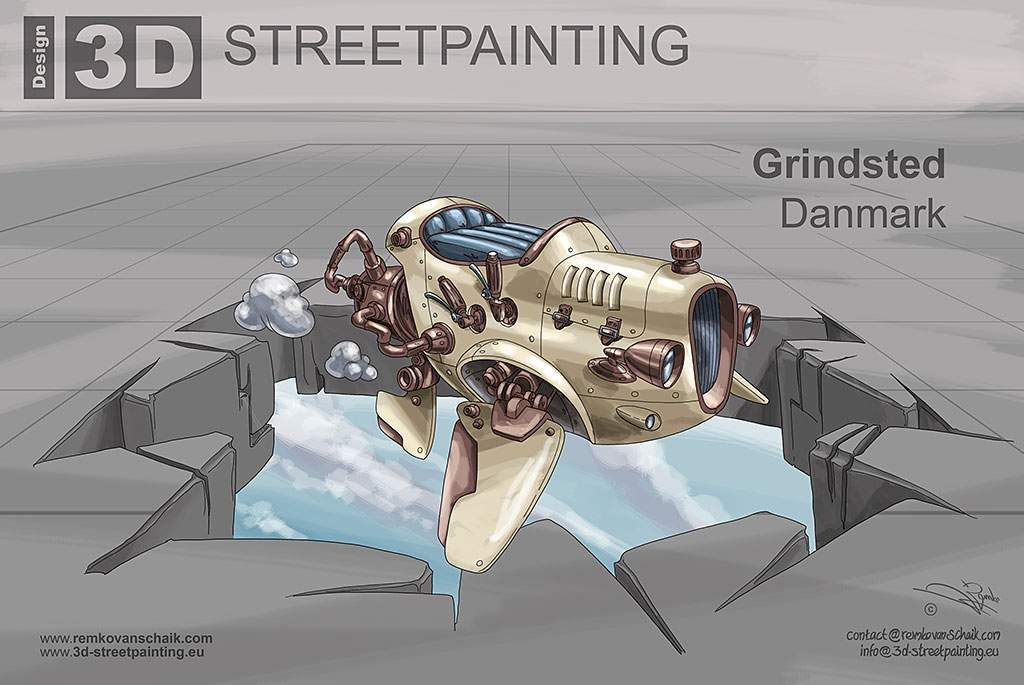 3D Streetpainting Sketch '3D Flying Rod'  designed by Remko van Schaik for  3D Streetpainting Art Project in Grindsted, Danmark.