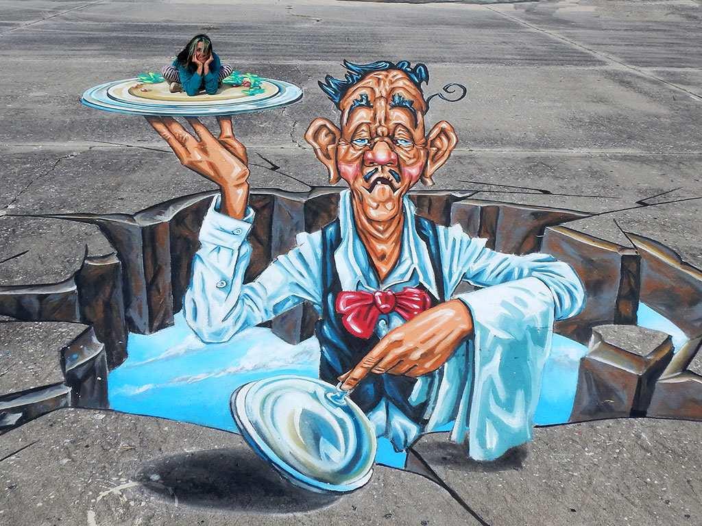 3d-streetpainting-3d-waiter-ober-remko-van-schaik-3d-sarasota-chalk-festival-venice-florida-7