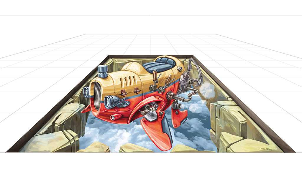 3D Streetpainting Sketch '3D Flying Car 2'