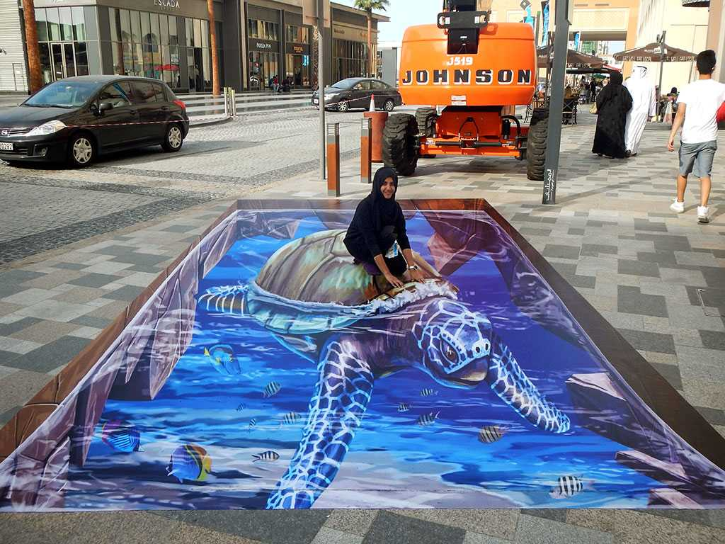 D Painting Exhibition In Dubai : D streetpainting ' turtle dubai canvas