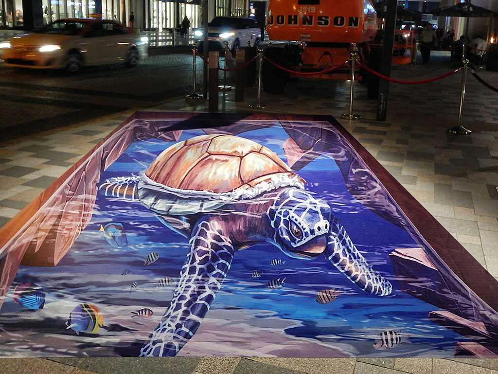 3d-streetpainting-3d-turtle-2-remko-van-schaik-3d-streetart-festival-dubai-canvas-2016-3
