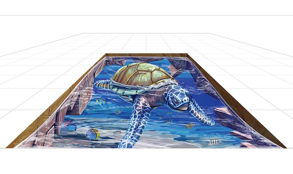 3D Streetpainting Sketch '3D Turtle' made by Remko van Schaik for Streetart festival 'Dubai Canvas' in Dubai, United Arab Emirates