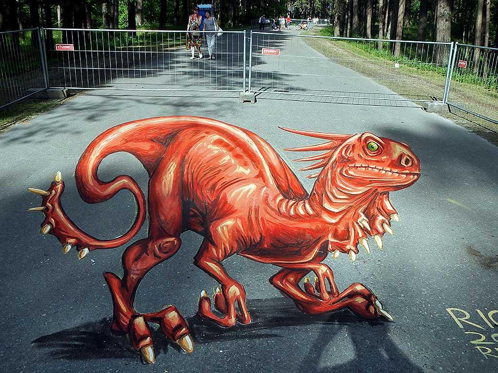3d-streetpainting-3d-draconis-raptor-remko-van-schaik-3d-streetart-festival-illusions-of-riga-2016-2