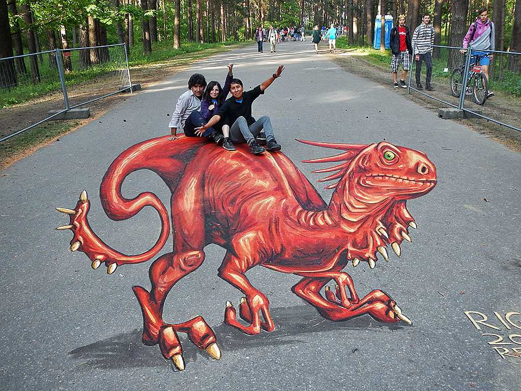 3D Streetpainting at Illusions of Riga, Riga, Latvia