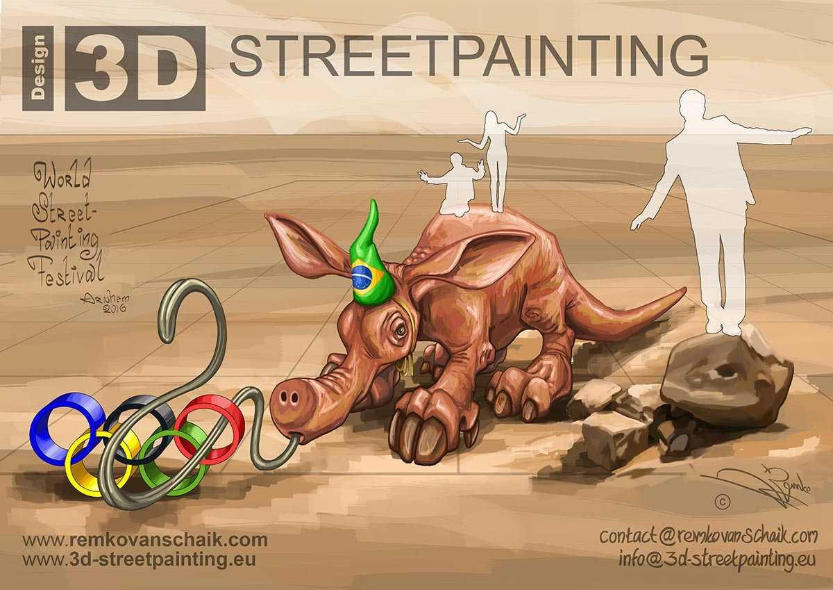 3D Streetpainting Sketch '3D Olympic Aardvark'  made by Remko van Schaik for Wolrd Street Painting Festival, Arnhem.