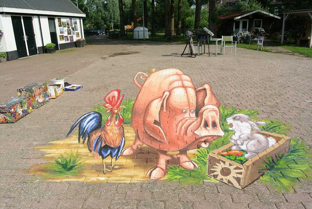 3D Streetpainting 3D Pig RTL Boulevard