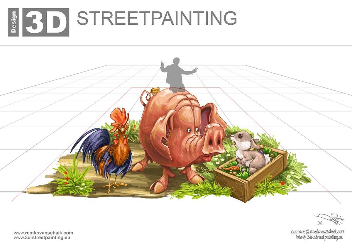 3D Streetpainting Sketch '3D Pig' made by Remko van Schaik for Kinderboederij 'koppelstee', Utrecht item on television for RTL Boulevard.