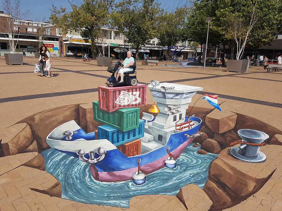 3D Streetpainting at Plein 53, Rotterdam