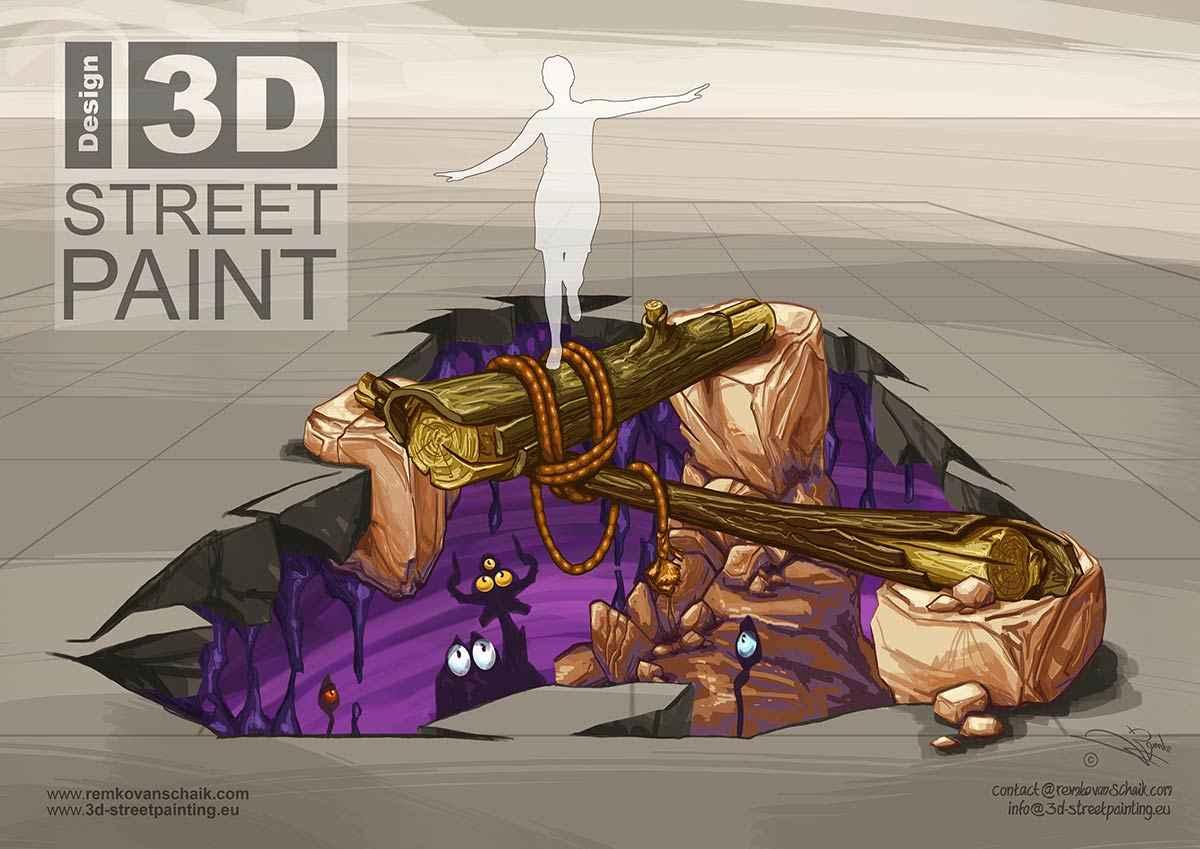 "3D Streetpaintings ""3D Ravine"" made by Remko van Schaik at Afula 3D Streetart Festival, Afula, Israël."