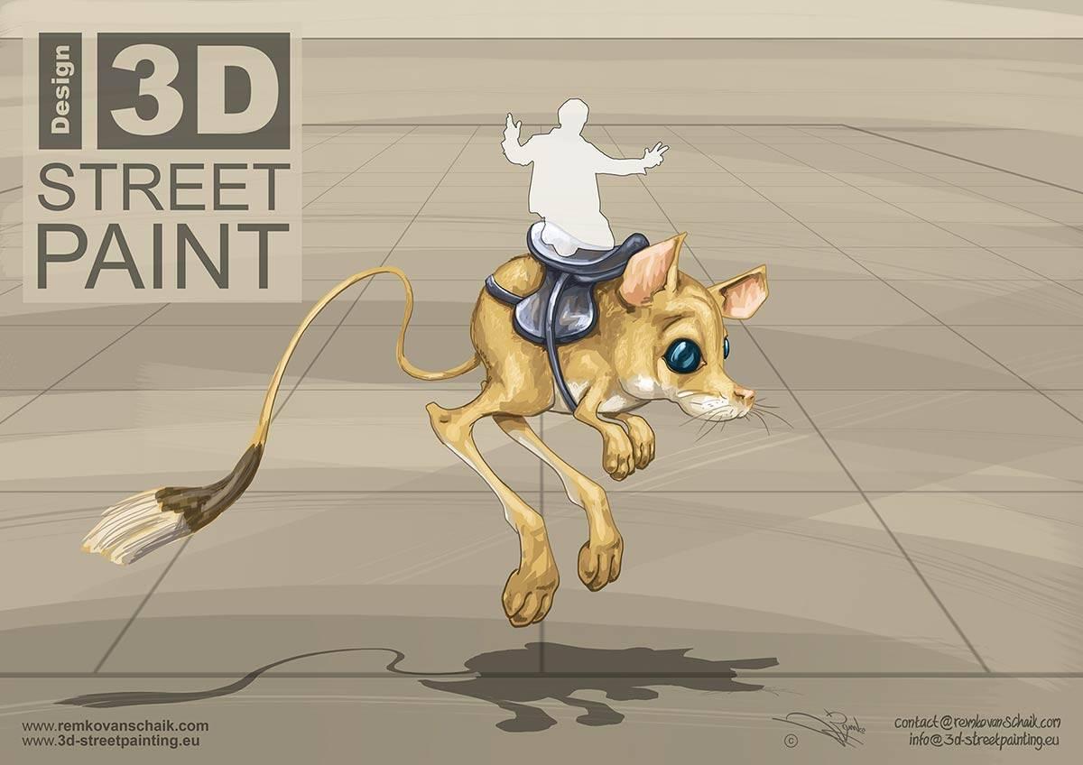 "3D Streetpaintings Sketch ""3D Springmuis (Gerbil)"" made by Remko van Schaik for Afula 3D Streetart Festival, Afula, Israël."