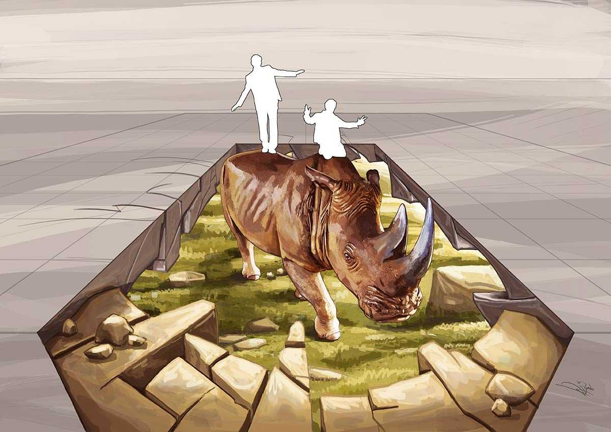 "3D Streetpainting Sketch ""3D Rhino WWF"" designed by Remko van Schaik for World Wildlife Fund (WWF) Stop Wildlife Crime"
