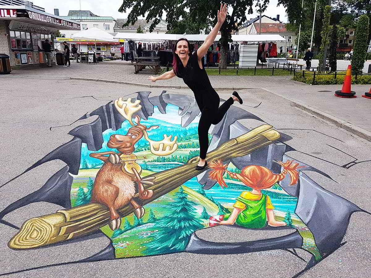 3D Streetpainting '3D Pippi Longstocking' Vänersborg, Zweden