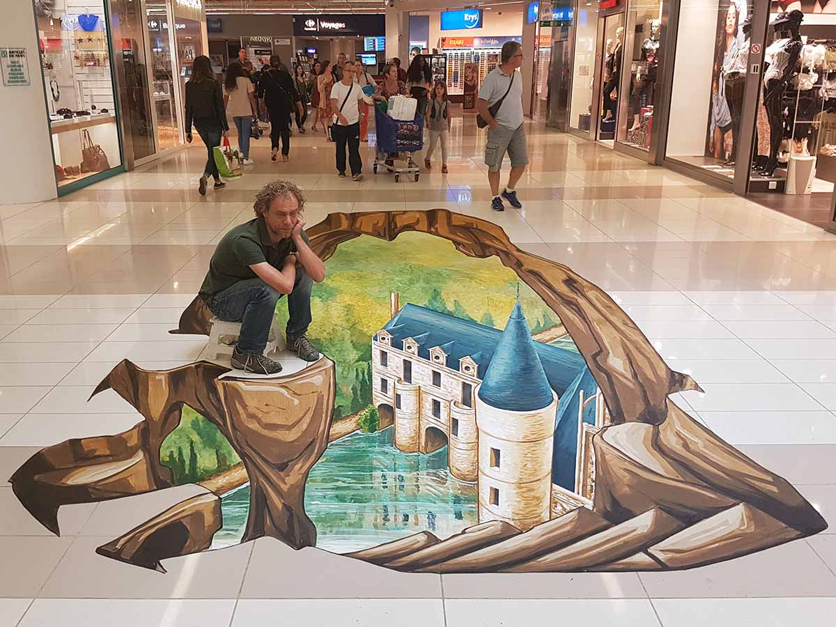 3D Streetpainting at 'Centre Commercial Les Atlantes', Tours, France
