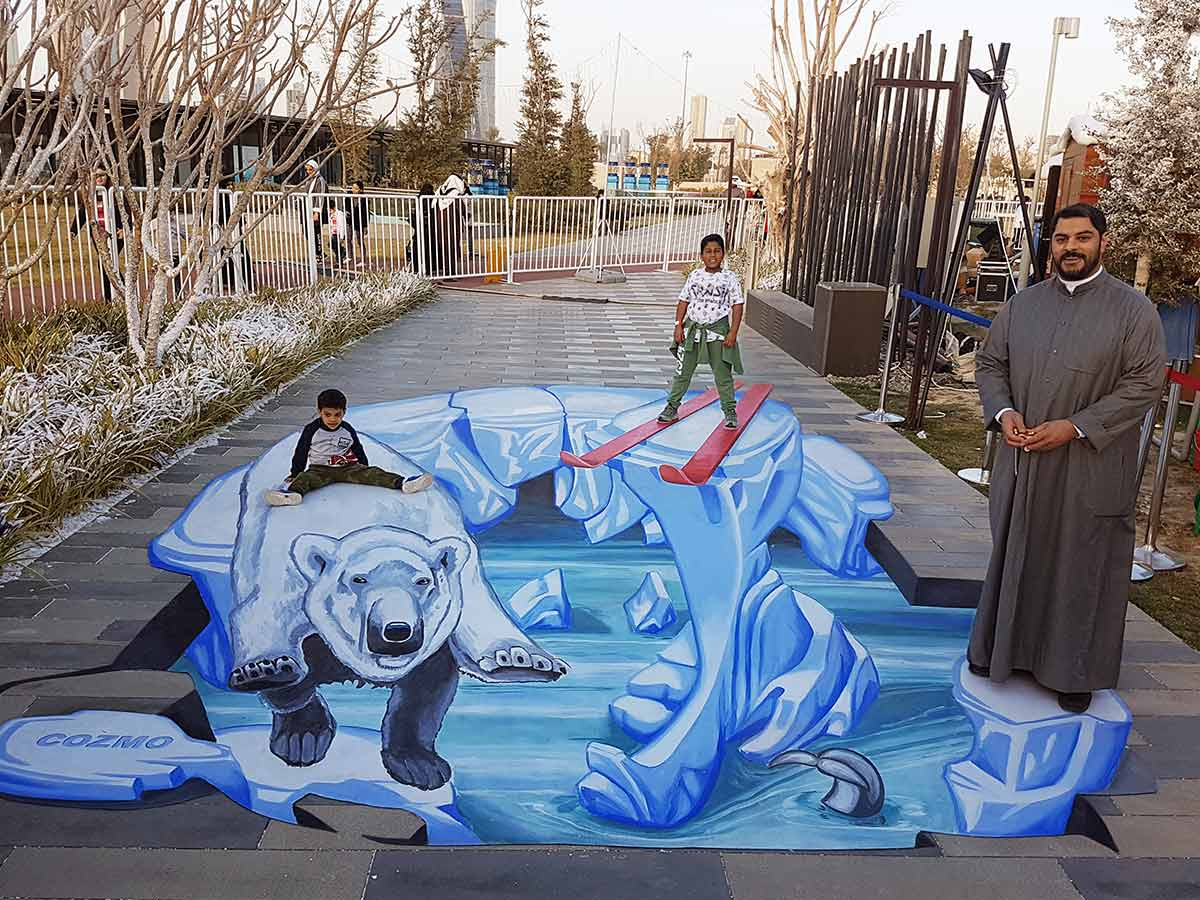 3D Streetpainting at Snowtown in K-Town, Kuwait-City