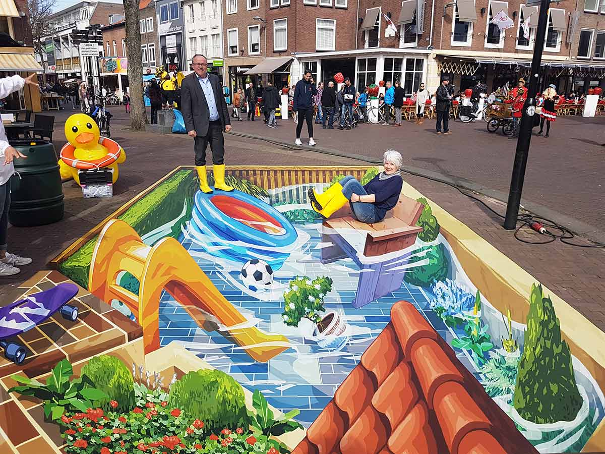 3D Streetpainting for Waterschap Rivierenland, Tiel
