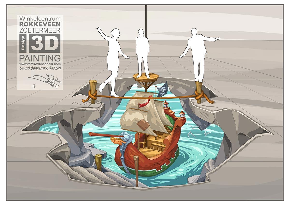 3D Streetpainting Sketch '3D Rokkeveen Ship'
