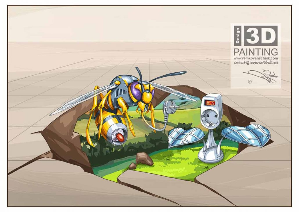 3D Streetpainting Sketch '3D Wasp' designed by Remko van Schaik for Climate Street Painting Festival