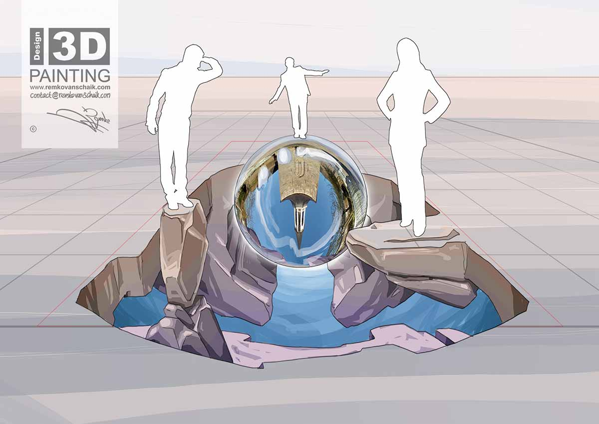 3D Streetpainting Sketch '3D Glass Sphere' designed by Remko van Schaik for Glasrijk Tubbergen Festival 2018