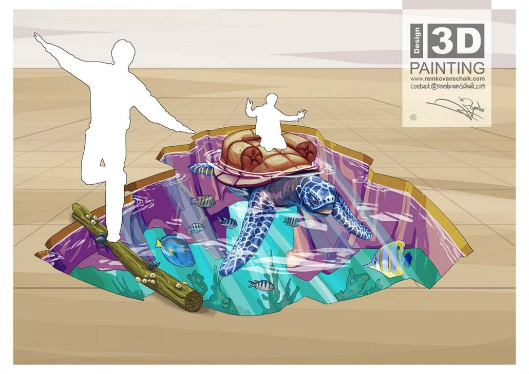 3D Streetpainting Sketch '3D Turtle Seat' designed by Remko van Schaik for Shopping Mall Citti-Park