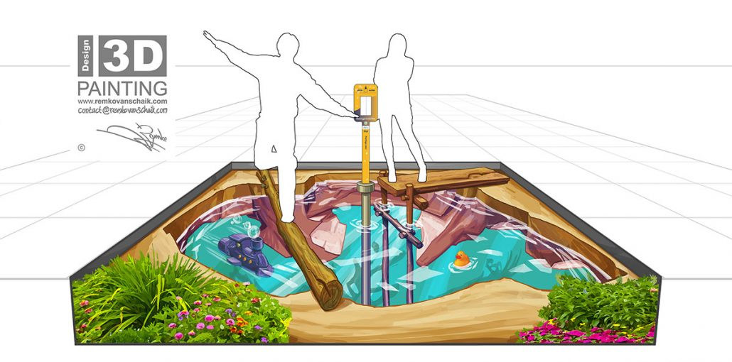 3D Streetpainting Sketch 3D Water Tap Point