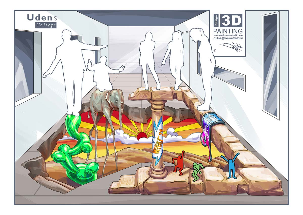 3D Streetpainting Sketch '3D 'Mixed Art'