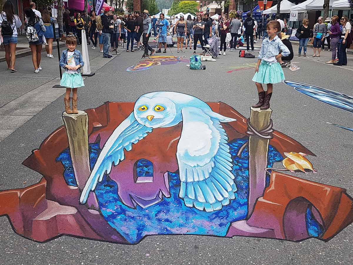 3D Streetpainting at PNW-Chalkfestival, Redmond USA 2019