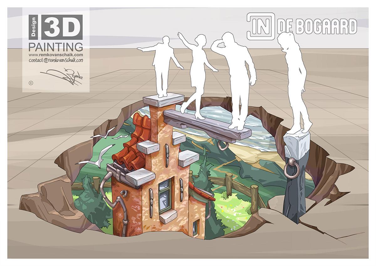 3D Streetpainting Sketch '3D In de Bogaard'